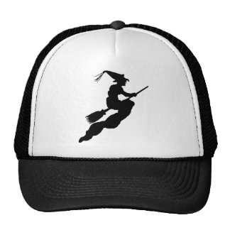 Witch in Flight on Broom Silhouette Cap