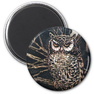 Witch in Owl Form 6 Cm Round Magnet