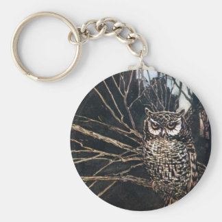 Witch in Owl Form Basic Round Button Key Ring
