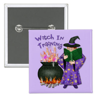 Witch in Training 15 Cm Square Badge