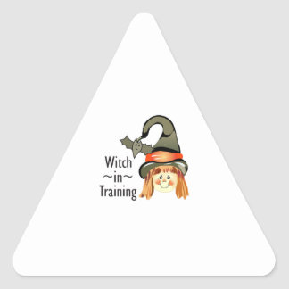 WITCH IN TRAINING TRIANGLE STICKER