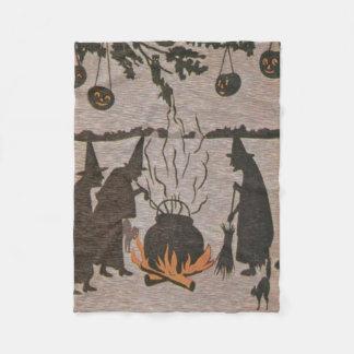 Witch Jack O' Lantern Cauldron Owl Fleece Blanket