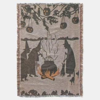 Witch Jack O' Lantern Cauldron Owl Throw Blanket