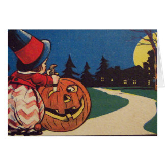 Witch Jack O Lantern Full Moon Pumpkin Carving Greeting Card