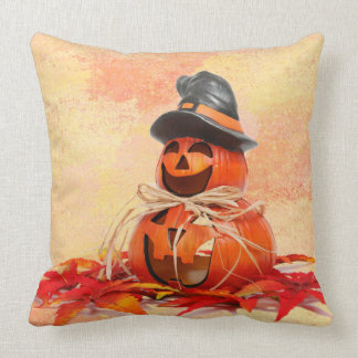 Witch Jack-O-Lantern Left Throw Pillow