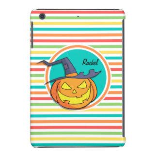 Witch Jack-o-lantern on Bright Rainbow Stripes iPad Mini Cover