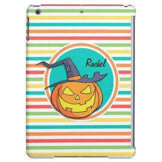 Witch Jack-o-lantern on Bright Rainbow Stripes iPad Air Case