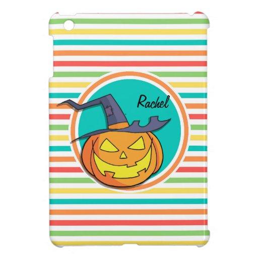 Witch Jack-o-lantern on Bright Rainbow Stripes iPad Mini Case
