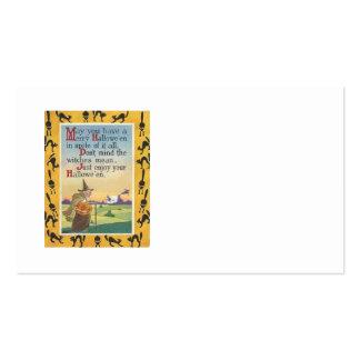 Witch Jack O' Lantern Pumpkin Black Cat Pack Of Standard Business Cards