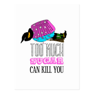 Witch killed by to cupcake. Too much to sugar dog  Postcard