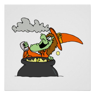 Witch Mixing in Cauldron Print