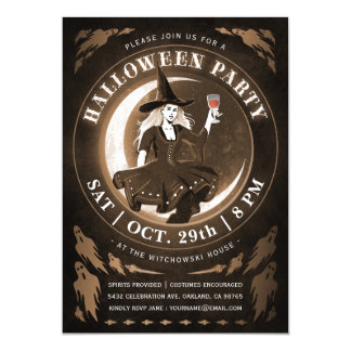 Witch & Moon Halloween Invitations | Amber