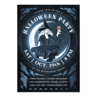 Witch & Moon Halloween Invitations | Blue