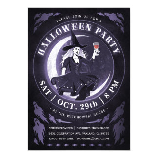 Witch & Moon Halloween Invitations | Purple
