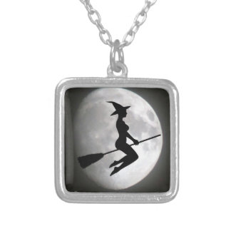 Witch On a Broom Against the Moon Pendant Necklace