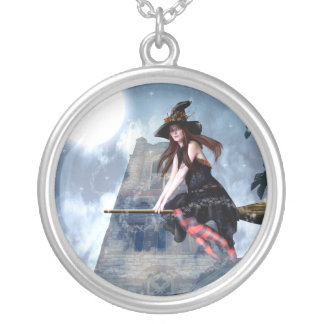 Witch on a Broom (Necklace/Pendant) Round Pendant Necklace