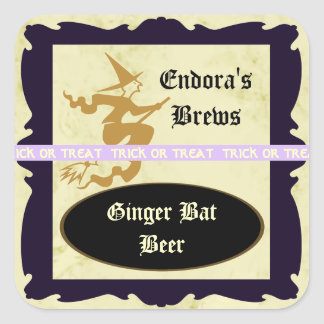 Witch on a Broom Treat Label