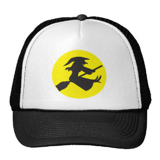 WITCH on a Broomstick HALLOWEEN design Trucker Hats