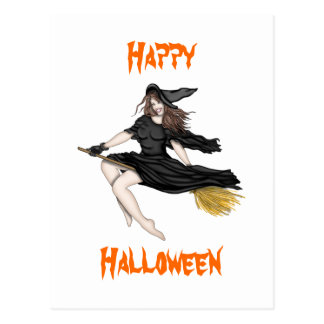 Witch on a Broomstick Postcard