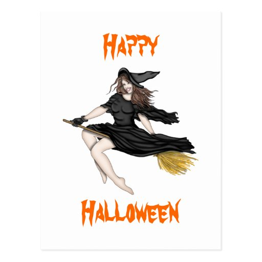 Witch on a Broomstick Postcards