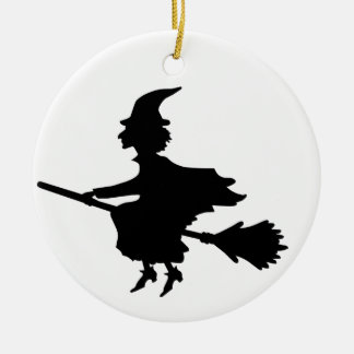 Witch on a Brromstick Round Ceramic Decoration