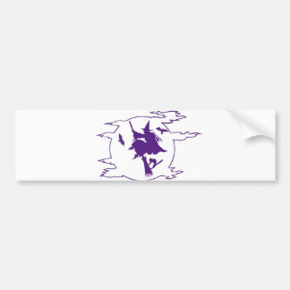 Witch on Broom Bumper Sticker