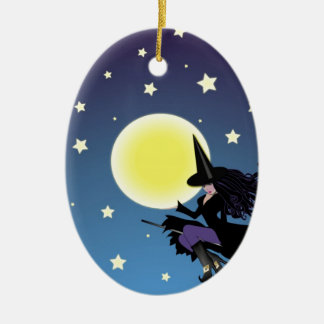 witch on broom ornament