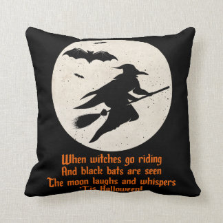 Witch on Broom Halloween Throw Pillow
