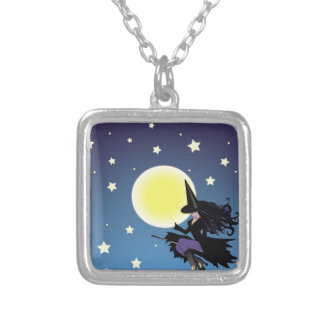 witch on broom custom necklace