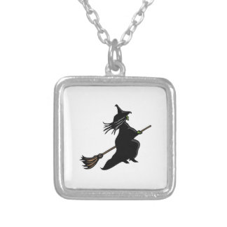 Witch On Broom Square Pendant Necklace