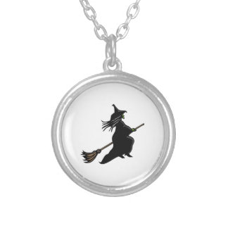 Witch On Broom Round Pendant Necklace