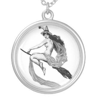WITCH ON BROOM   STERLING NECKLACE