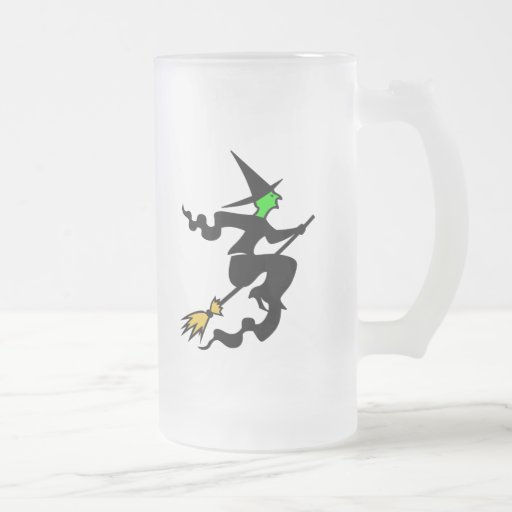 Witch On Broomstick  Frosted Halloween Beer Mug