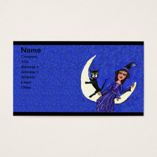 Witch On Crescent Moon Black Cat Blue