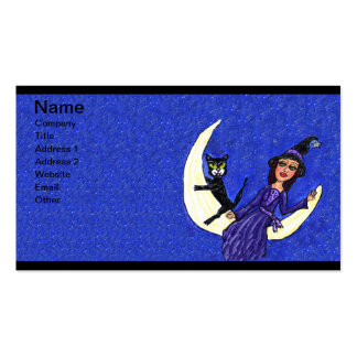 Witch On Crescent Moon Black Cat Blue Pack Of Standard Business Cards