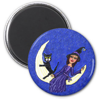 Witch On Crescent Moon Black Cat Magnet