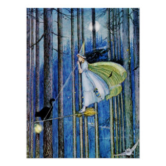 Witch on Her Broom Stick Poster