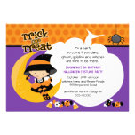 Witch on the Moon Halloween Birthday Personalized Announcement