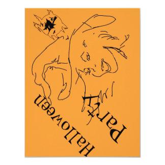 "Witch (Orange) Halloween Party ~ 4.25"" x 5.5"" Card 11 Cm X 14 Cm Invitation Card"