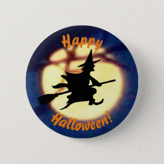 Witch Over Moon Halloween Button