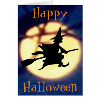 Witch Over Moon Halloween Greeting Card