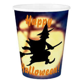 Witch Over Moon Halloween Paper Cups