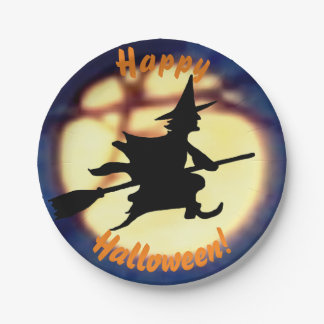 Witch Over Moon Halloween Paper Plates 7 Inch Paper Plate