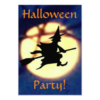 Witch Over Moon Halloween Party Invitation