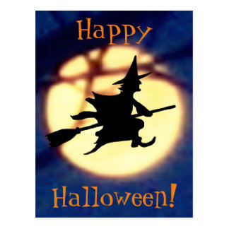Witch Over Moon Halloween Postcard