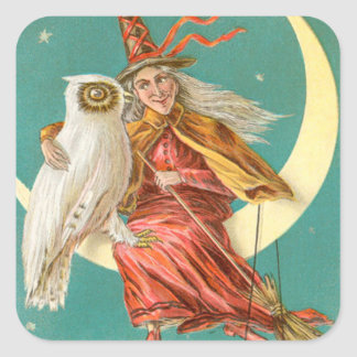 Witch Owl Crescent Moon Square Sticker