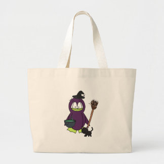 Witch Penguin Large Tote Bag