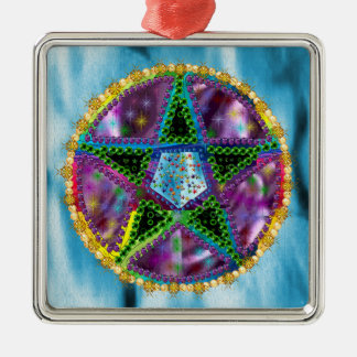 Witch Pentagram Silver-Colored Square Decoration