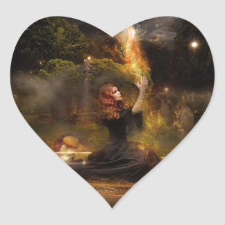 Witch Performs Magic Circle Spells Heart Sticker