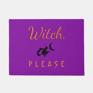 Witch Please Halloween Doormat Purple Orange